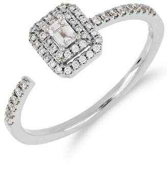 Bony Levy 18K White Gold Faceted Baguette & Halo Set Diamond Detail Open Ring - 0.30 ctw