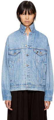 R 13 Blue Levis Edition Repurposed Back Zip Denim Trucker Jacket