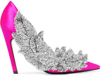Balenciaga - Sequin-embellished Satin Pumps - Fuchsia $2,850 thestylecure.com