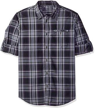 Calvin Klein Jeans Men's Check Roll Tab Long Sleeve Button Down Shirt