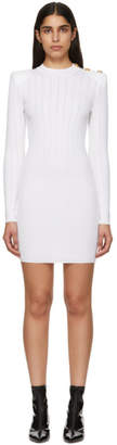 Balmain White Buttoned Knit Mini Dress
