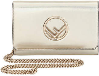 Fendi F Logo Metallic Calf Catalan Wallet On A Chain