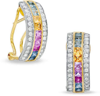 Zales Multi-Color Princess-Cut Sapphire and 3/8 CT. T.W. Diamond Earrings in 14K Gold