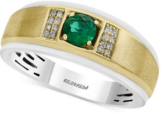 Effy Men Emerald (1/2 ct. t.w.) and Diamond Accent Ring in 14k Gold and White Gold