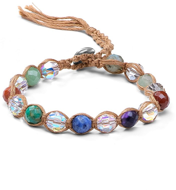 Chan Luu Single Wrap Multi Beaded Faceted Bracelet