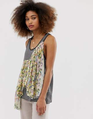 Asos DESIGN Tank With Drop Armhole In Washed Stripe With Ruffle Detail