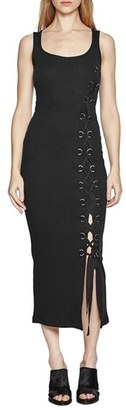 Women's French Connection 'Tommy' Lace-Up Ribbed Midi Dress $118 thestylecure.com