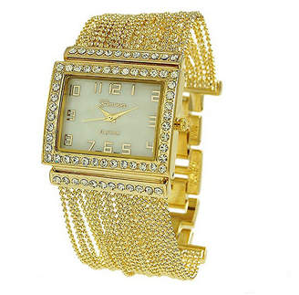 Geneva Platinum Womens Gold Tone Bracelet Watch-9239