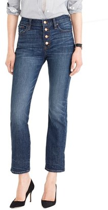 Women's J.crew 'Straight Away' Stretch High Rise Crop Jeans $125 thestylecure.com