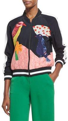 Alice + Olivia Felisa Embellished Bird-Print Silk Bomber Jacket, Multicolor $595 thestylecure.com