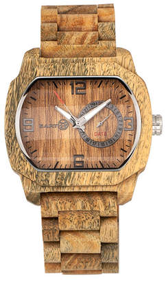 Earth Wood Scaly Wood Bracelet Watch W/Date Olive 46Mm