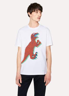 Paul Smith Men's White Large-Scale 'Dino' Print Cotton T-Shirt