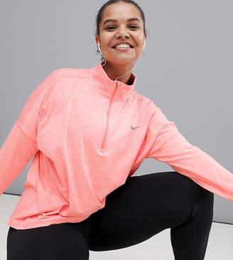 Nike Running Plus Dry Element Half Zip Top In Pink