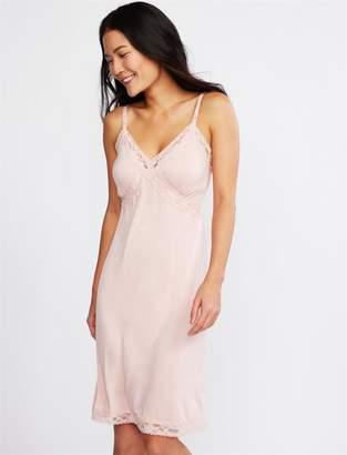 A Pea in the Pod Lace Trim Clip Down Nursing Nightgown