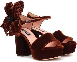 Rochas Velvet plateau sandals