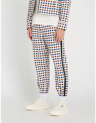 Marni Geometric-print slim-fit skinny cotton-blend trousers