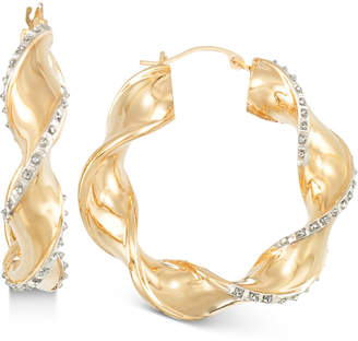 Signature Diamonds Twisted-Swirl Hoop Earringsin 14k Gold over Resin Core Diamond and Crystallized Diamond Dust