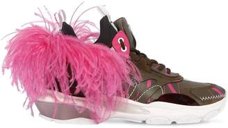 Valentino Bounce Leather Sneakers W/ Feather
