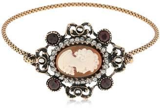 Alcozer & J Ladies Portrait Garnet Bangle Bracelet