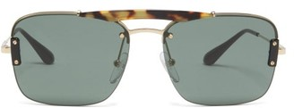 Prada Tortoiseshell Bridge Aviator Metal Sunglasses - Mens - Gold