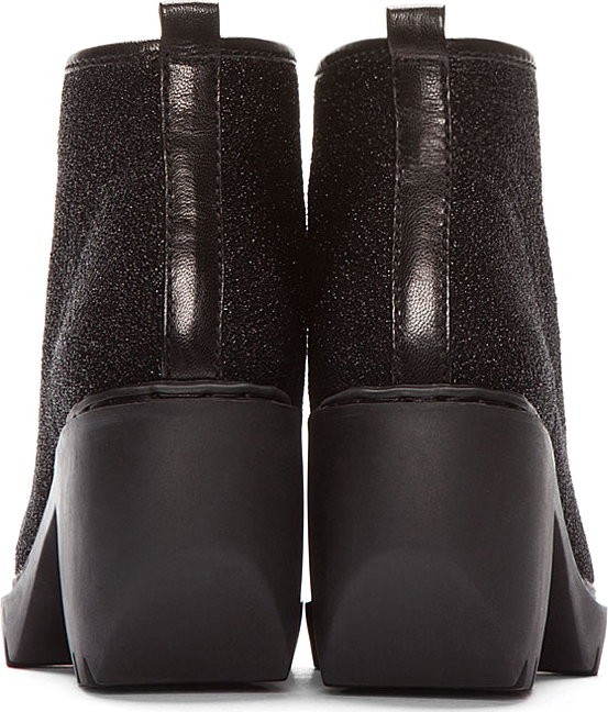 Opening Ceremony Black Metallic Patent Cap-Toe Lace-Up Grunge Boots
