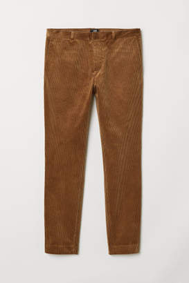 H&M Skinny Fit Corduroy Pants - Beige