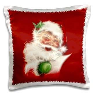3dRose A trendy vintage fractal Santa Claus with a wish list, Pillow Case, 16 by 16-inch