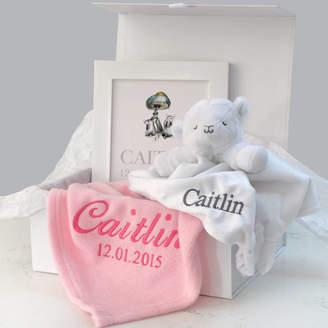A Type Of Design Personalised Pink Blanket, Comforter, Art Baby Hamper