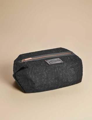 Agent Provocateur Large Lace Cosmetic Bag In Black With Rose Gold Zip