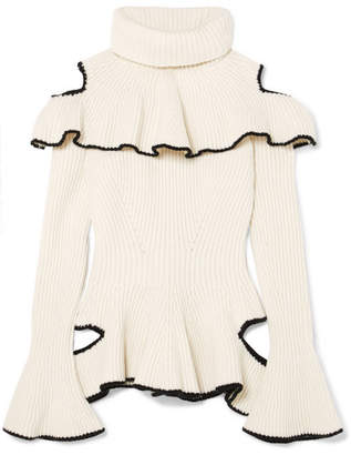 Alexander McQueen Ruffled Ribbed Wool And Cashmere-blend Sweater - Ivory
