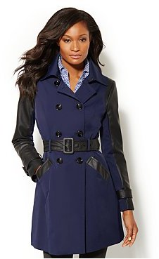 New York & Co. NY Trench - Faux-Leather Trim