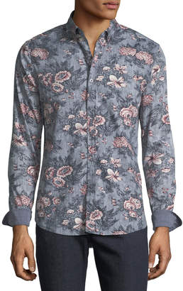 Report Collection Men's Floral Print Sport Shirt
