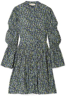 MICHAEL Michael Kors Smocked Floral-print Crepe Dress - Navy