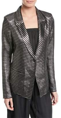 RtA Iggy Peak-Lapel Metallic Striped One-Button Blazer