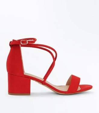 New Look Red Suedette Strappy Low Block Heel Sandals