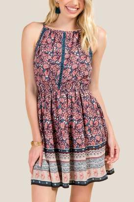 francesca's Kassidy Floral A-Line Dress - Dark Teal