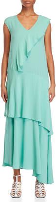Alysi Mint Green Ruffled Maxi Dress