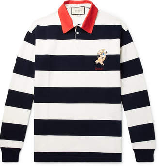 a3e1a05867c Gucci Appliqued Striped Cotton-Jersey Rugby Shirt - Men - Blue
