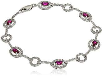 Sterling Silver Created Ruby and Diamond Accent Oval Line Bracelet