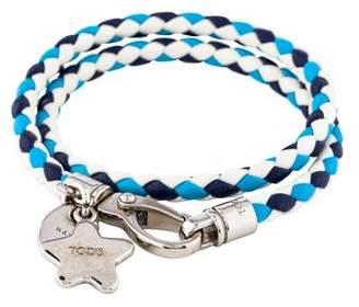Tod's Leather & Enamel Star Charm Braided Double Wrap Bracelet