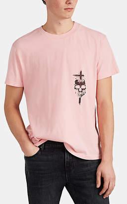 RtA Men's Skull-Print Cotton T-Shirt - Pink