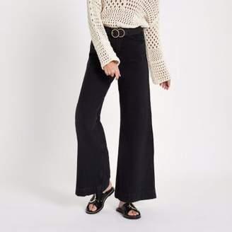 River Island Womens Black Mila wide leg jeans