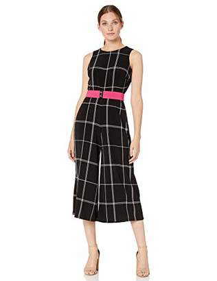 Gabby Skye Women's Plaid Belted Jumpsuit