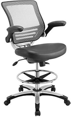 Modway Edge Drafting Chair In Gray Vinyl - Reception Desk Chair - Tall Office Chair For Adjustable Standing Desks - Flip-Up Arm Drafting Table Chair