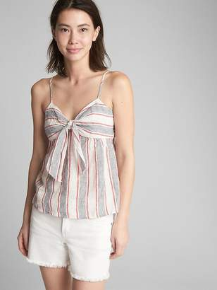 Gap Stripe Tie-Front Cami in Linen