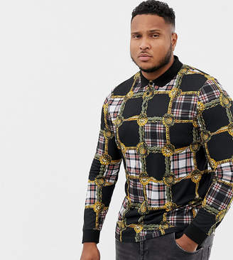 Asos DESIGN Plus long sleeve polo with all over check panel print