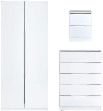 Very Monaco Ready Assembled High Gloss 3-Piece Package - 2 Door Wardrobe, 5 Drawer Chest and 2 Drawer Bedside Cabinet (Buy and SAVE!)