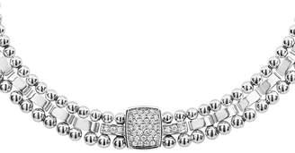 "Lagos Sterling Silver Caviar Spark Diamond Station Collar Necklace, 18"""