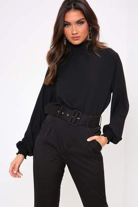 82caf87b2244 I SAW IT FIRST Black Shirred Neck Long Sleeve Blouse