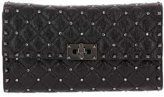 Valentino Clutch Rockstud Spike Clutch Small In Quilted Nappa Leather With Metal Studs And Rhinestones